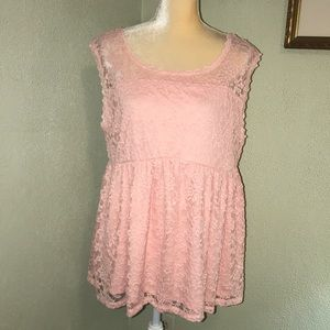 Torrid Pink Lace Lined Tank Size 1X